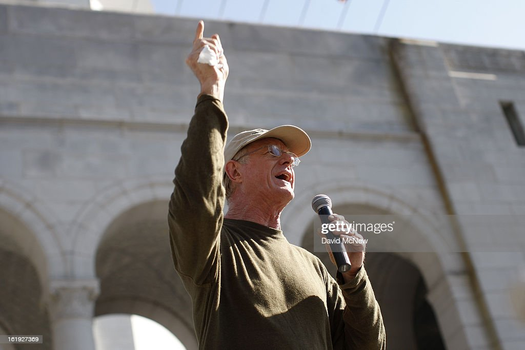 Actor and environmentalist Ed Begley Jr. speaks on the steps of City Hall during the 'Forward on Climate' rally to call on President Obama to take strong action on the climate crisis on February 17, 2013 in Los Angeles, California. Organizers say the rally, which is led by Tar Sands Action Southern California and Sierra Club, is composed of a coalition of over 90 groups and coincides with similar rallies in Washington D.C. and other U.S. cities.