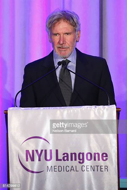 Actor and Event Chair Harrison Ford speaks onstage at NYU Langone Medical Center's 2016 FACES Gala on March 7 2016 in New York City
