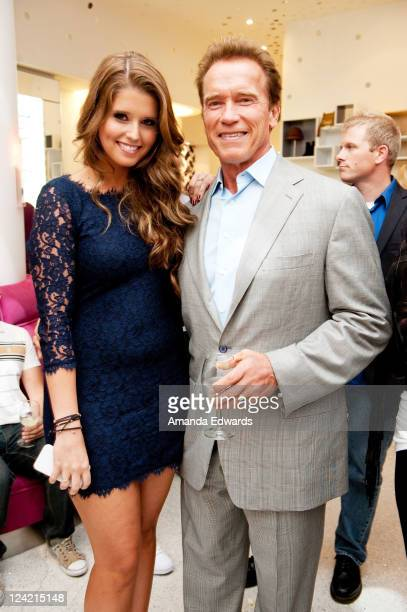 Actor and former California Governor Arnold Schwarzenegger and his daughter Katherine attend Trust Your Senses At DVF for Fashion's Night Out on...