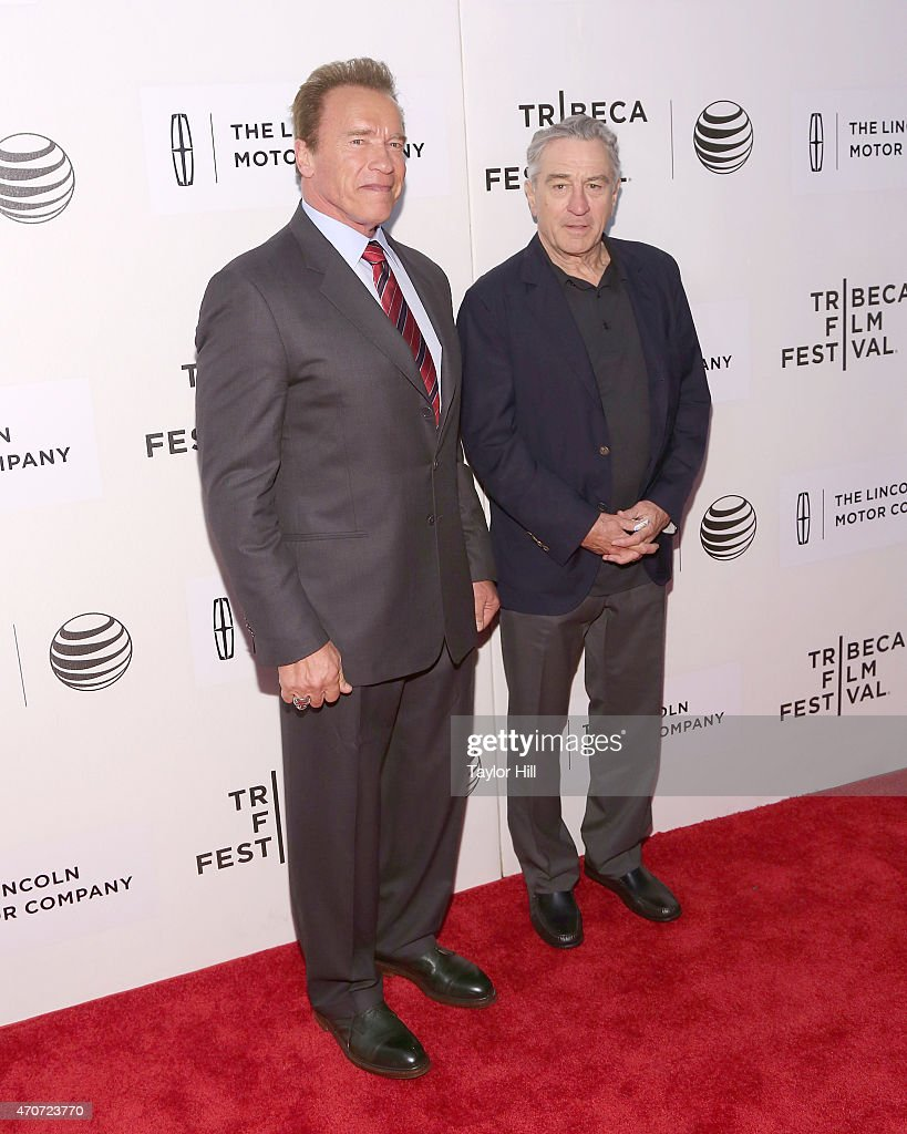 Actor and former governor of California Arnold Schwarzenegger and actor Robert De Niro attend the world premiere of 'Maggie' during the 2015 Tribeca Film Festival at BMCC Tribeca PAC on April 22, 2015 in New York City.