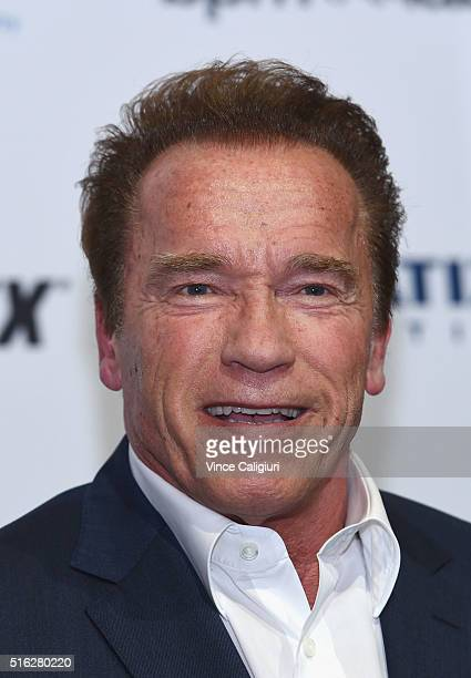 Actor and former Governor of California Arnold Schwarzenegger speaking at the Arnold Classic Sports Festival Press Conference on March 18 2016 in...