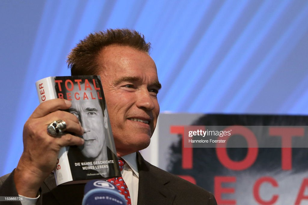 Actor and former Governor of California, <a gi-track='captionPersonalityLinkClicked' href=/galleries/search?phrase=Arnold+Schwarzenegger&family=editorial&specificpeople=156406 ng-click='$event.stopPropagation()'>Arnold Schwarzenegger</a> attends a news conference about his new biography entitled 'Total Recall: My Unbelievably True Life Story' at the Frankfurt Book Fair on October 10, 2012 in Frankfurt, Germany. The Frankfurt Book Fair is the largest in the world and will run from October 10-14, 2012.