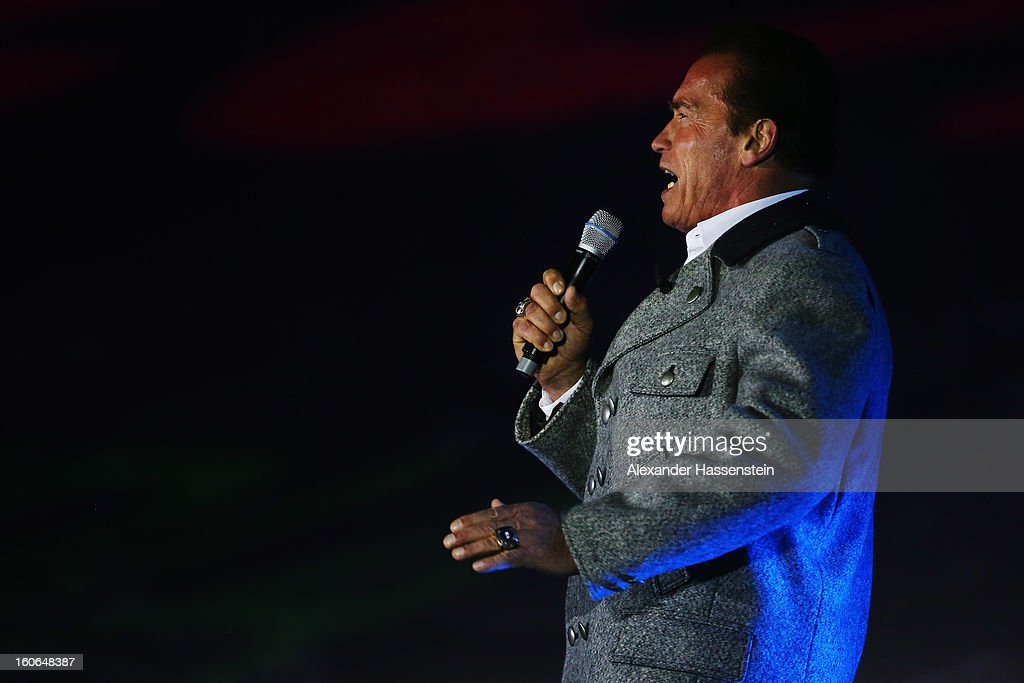 Actor and former Governor of California <a gi-track='captionPersonalityLinkClicked' href=/galleries/search?phrase=Arnold+Schwarzenegger&family=editorial&specificpeople=156406 ng-click='$event.stopPropagation()'>Arnold Schwarzenegger</a> attends the opening ceremony for the Alpine FIS Ski World Championships on February 4, 2013 in Schladming, Austria.