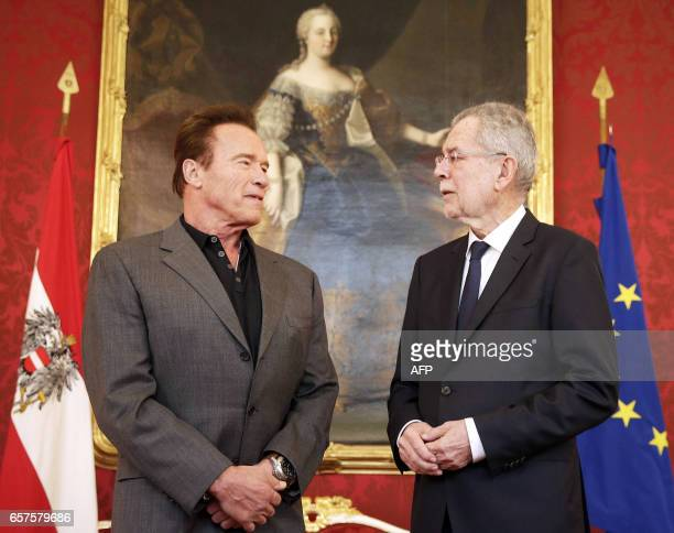 US actor and former governor of California Arnold Schwarzenegger meets with Austrian President Alexander Van der Bellen on March 25 2017 at the...
