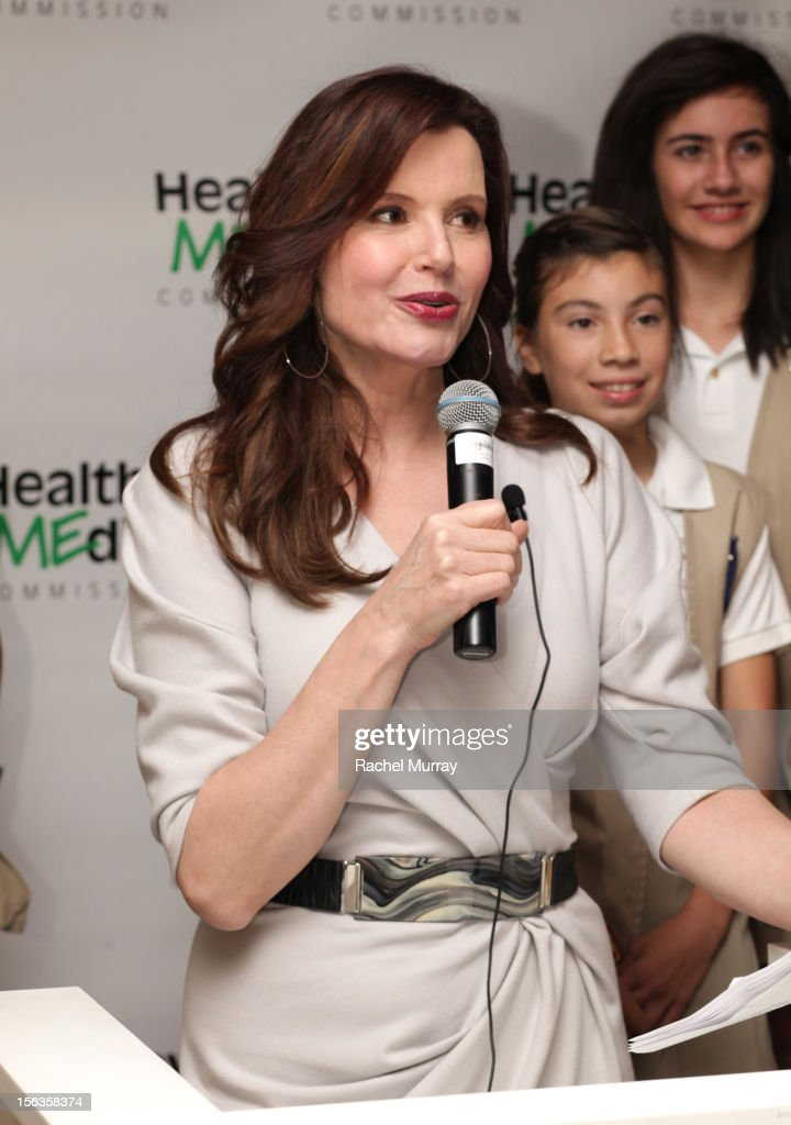 Actor and Founder <a gi-track='captionPersonalityLinkClicked' href=/galleries/search?phrase=Geena+Davis&family=editorial&specificpeople=209423 ng-click='$event.stopPropagation()'>Geena Davis</a> speaks during the <a gi-track='captionPersonalityLinkClicked' href=/galleries/search?phrase=Geena+Davis&family=editorial&specificpeople=209423 ng-click='$event.stopPropagation()'>Geena Davis</a> Institute On Gender In Media cocktail reception at SLS Hotel on November 13, 2012 in Beverly Hills, California.