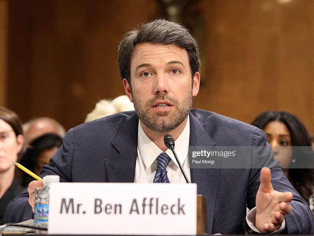 Actor and founder of the Eastern Congo Initiative <a gi-track='captionPersonalityLinkClicked' href=/galleries/search?phrase=Ben+Affleck&family=editorial&specificpeople=201856 ng-click='$event.stopPropagation()'>Ben Affleck</a> testifies at the US Senate Hearing On The Democratic Republic Of Congo at Dirksen Senate Office Building on February 26, 2014 in Washington, DC. The committee was hearing testimony on prospects for peace in the Democratic Republic of Congo and Great Lakes Region.