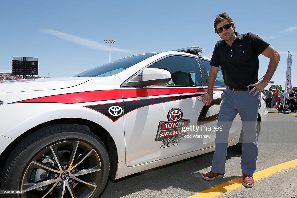 Actor and Honorary Pace Car Driver <a gi-track='captionPersonalityLinkClicked' href=/galleries/search?phrase=Luke+Wilson+-+Actor&family=editorial&specificpeople=210582 ng-click='$event.stopPropagation()'>Luke Wilson</a> prepares to drive the pace car for the NASCAR Sprint Cup Series Toyota/Save Mart 350 at Sonoma Raceway on June 26, 2016 in Sonoma, California.