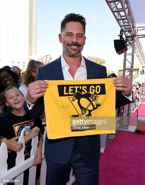 Actor and host Joe Manganiello holds up a fan's Pittsburgh Penguins towel as he attends the 2017 NHL Awards at TMobile Arena on June 21 2017 in Las...
