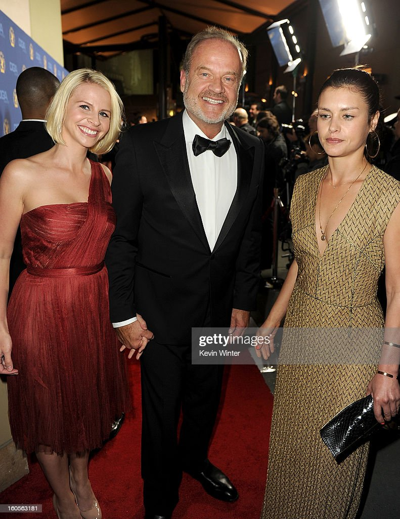 Actor and host <a gi-track='captionPersonalityLinkClicked' href=/galleries/search?phrase=Kelsey+Grammer&family=editorial&specificpeople=210500 ng-click='$event.stopPropagation()'>Kelsey Grammer</a> (C), wife Kayte Grammer (L) and guest attend the 65th Annual Directors Guild Of America Awards at Ray Dolby Ballroom at Hollywood & Highland on February 2, 2013 in Los Angeles, California.