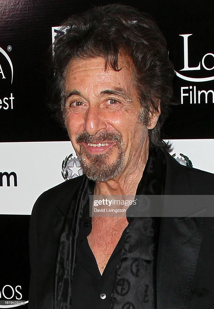 Actor and Jack Valenti - L.A. Italia Legend Award honoree <a gi-track='captionPersonalityLinkClicked' href=/galleries/search?phrase=Al+Pacino&family=editorial&specificpeople=202658 ng-click='$event.stopPropagation()'>Al Pacino</a> attends the 8th Annual Los Angeles Italia Film, Fashion and Art Festival Opening Night Gala at the Mann Chinese 6 on February 17, 2013 in Los Angeles, California.