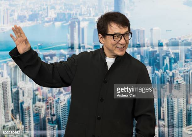 Actor and martial artist Jackie Chan celebrates Hong Kong Airlines' inaugural flight to Vancouver BC at Vancouver International Airport on June 30...