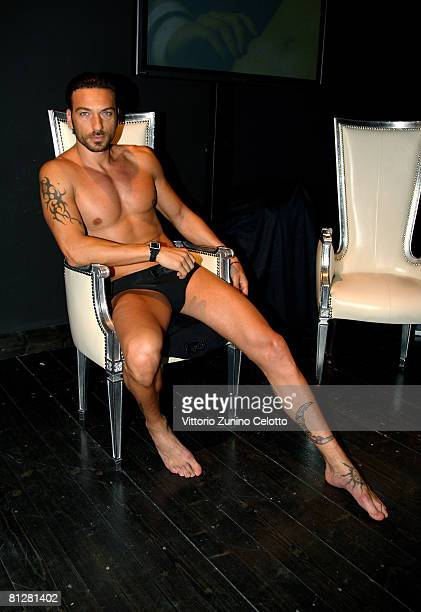Actor and model Costantino Vitagliano showcases a design from the Parah Noir Autumn/Winter 200809 new mens underwear collection on May 29 2008 in...