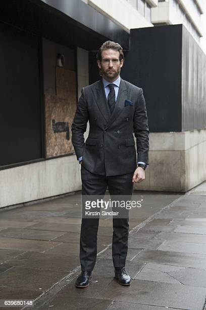 Actor and Model Craig McGinlay wears Marks and Spencers shoes and a Hackett suit shirt and tie day 2 of London Mens Fashion Week Autumn/Winter 2017...