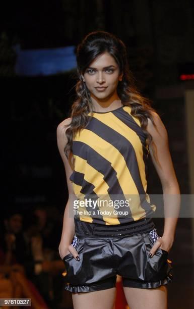 Actor and model Deepika Padukone walks the ramp for fashion designers Shantanu and Nikhil at Lakme Fashion Week 2010