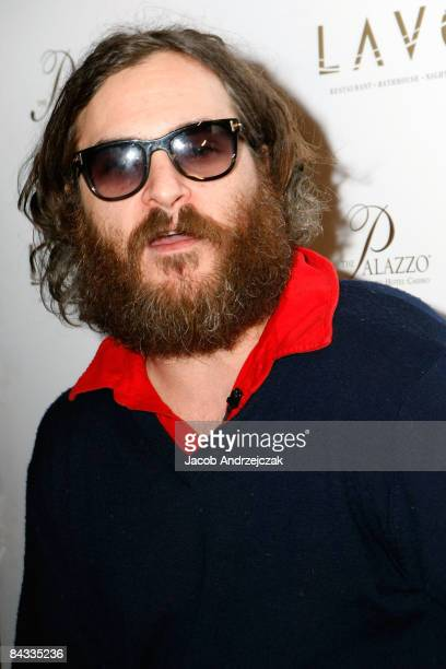 Actor and musician Joaquin Phoenix arrives for his musical performance at Lavo at The Palazzo on January 16 2009 in Las Vegas Nevada