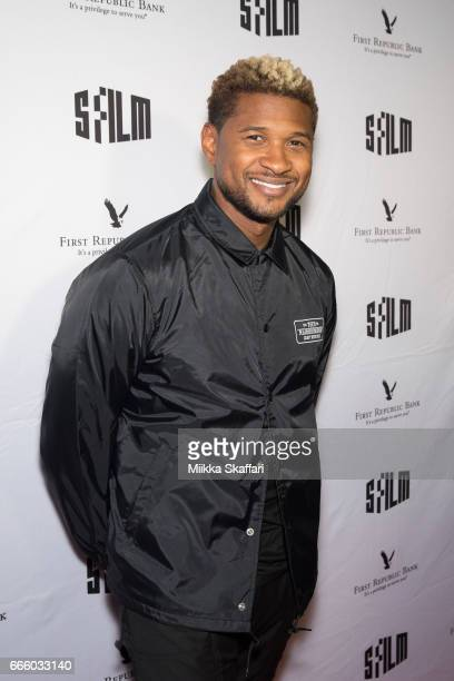 Actor and musician Usher arrives at the premiere of 'People you may know' at SFMOMA on April 7 2017 in San Francisco California
