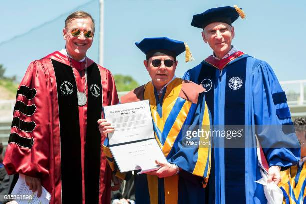 Actor and philanthropist Michael J Fox receives an honorary degree of Doctor of Fine Arts during the Stony Brook University 2017 Commencement at...