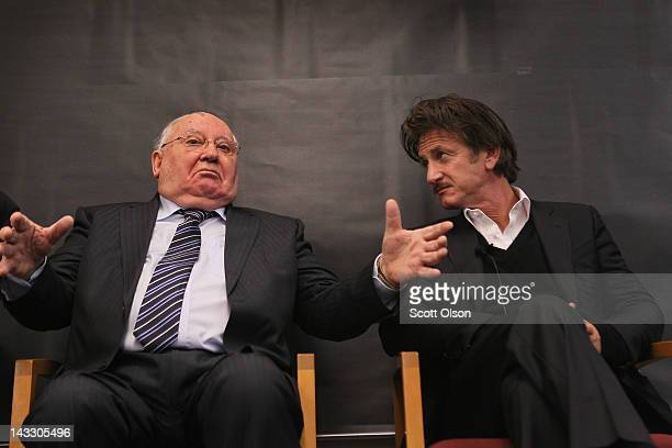Actor and philanthropist Sean Penn listens as former Russian President Mikhail Gorbachev speaks with students at Frederick Von Steuben Metropolitan...