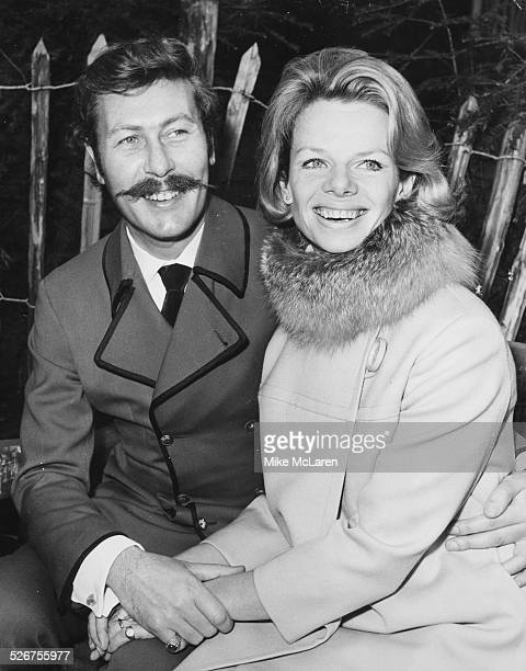 Actor and playwright John Osborne and actress Jill Bennett pictured holding hands on their wedding day Chelsea Registry Office London April 19th 1968