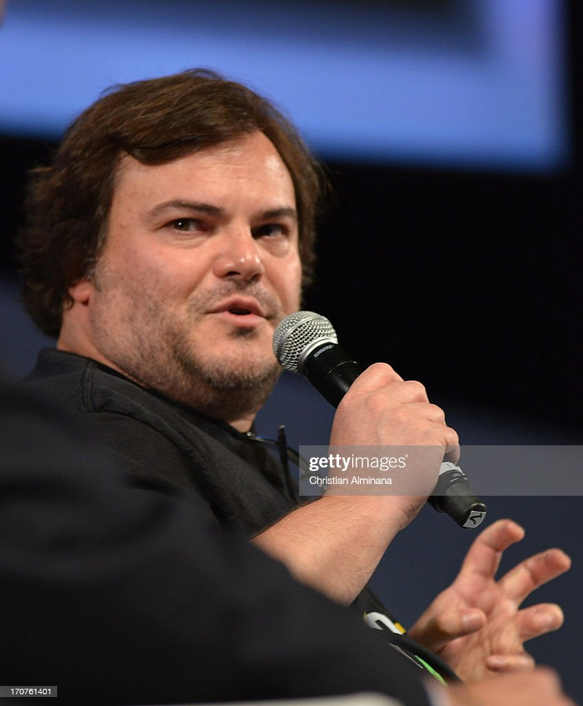 US actor and producer <a gi-track='captionPersonalityLinkClicked' href=/galleries/search?phrase=Jack+Black&family=editorial&specificpeople=171453 ng-click='$event.stopPropagation()'>Jack Black</a> attends the Yahoo Seminar as part of the 60th Cannes Lions International Festival of Creativity at Palais des Festivals on June 17, 2013 in Cannes, France.