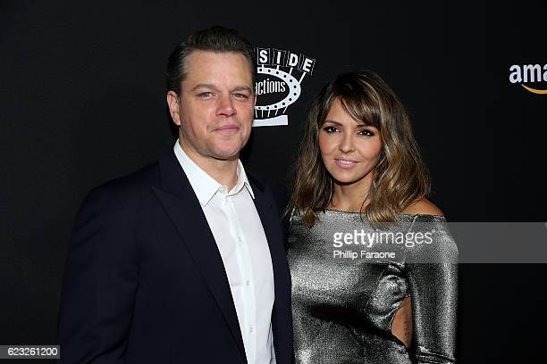 Actor and producer Matt Damon and Luciana Barroso attend the premiere of Amazon Studios' 'Manchester By The Sea' at Samuel Goldwyn Theater on...