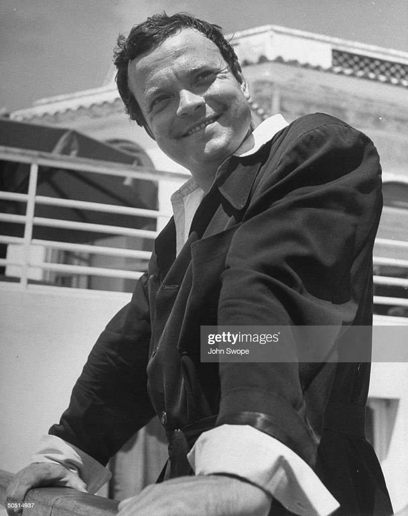 Actor and Producer Orson Welles vacationing on French Riviera at Eden Roc