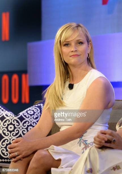 Actor and producer Reese Witherspoon speaks onstage during Vanity Fair's Founders Fair at the 1 Hotel Brooklyn Bridge on April 20 2017 in Brooklyn...