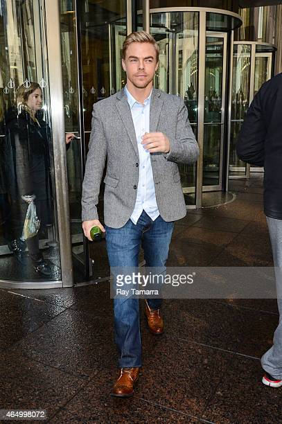 Actor and professional dancer Derek Hough leaves the Sirius XM Studios on March 2 2015 in New York City