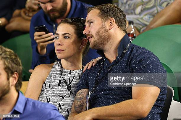 Actor and radio personality Kate Ritchie watches the third round match between Rafael Nadal of Spain and Dudi Sela of Israel during day five of the...