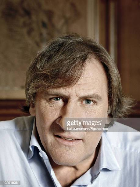 Actor and restaurateur Gerard Depardieu poses at a portrait session for Madame Figaro Magazine at his Parisian restaurant 'La Fontaine Gaillon' in...