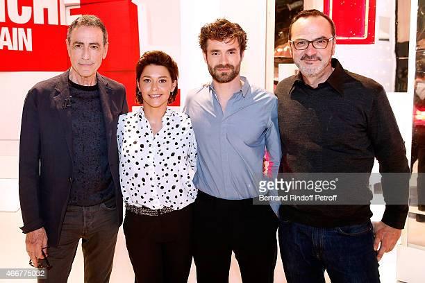 Actor and singer Alain Chamfort Actors Emma de Caunes Yannick Renier and Director Olivier Jahan present the movie 'Les chateaux de sable' during the...