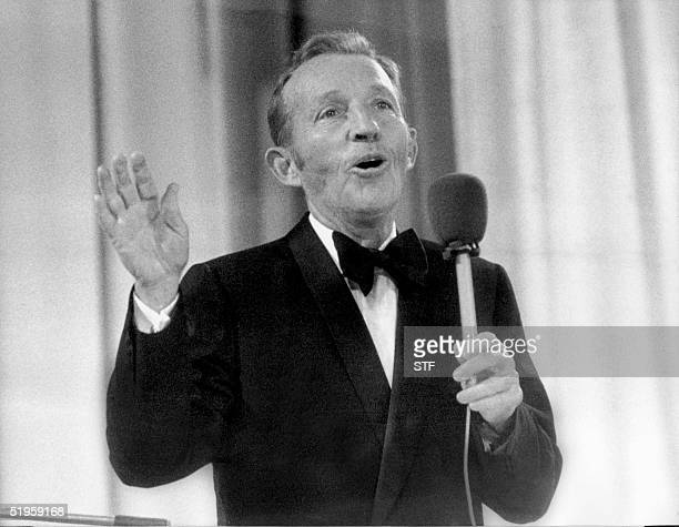 US actor and singer Bing Crosby performs at the Momarkedet opening show with his orchestra in Oslo 30 August 1977 AFP PHOTO