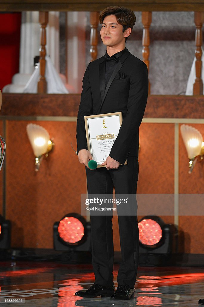 Actor and Singer Changmin accepts Award for New star during the 36th Japan Academy Prize Award Ceremony at Grand Prince Hotel Shin Takanawa on March...
