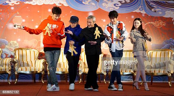 Actor and singer Chris Wu film producer Stephen Chow director Hark Tusi actor Lin Gengxin and actress Lin Yun promote film 'Journey to the West the...