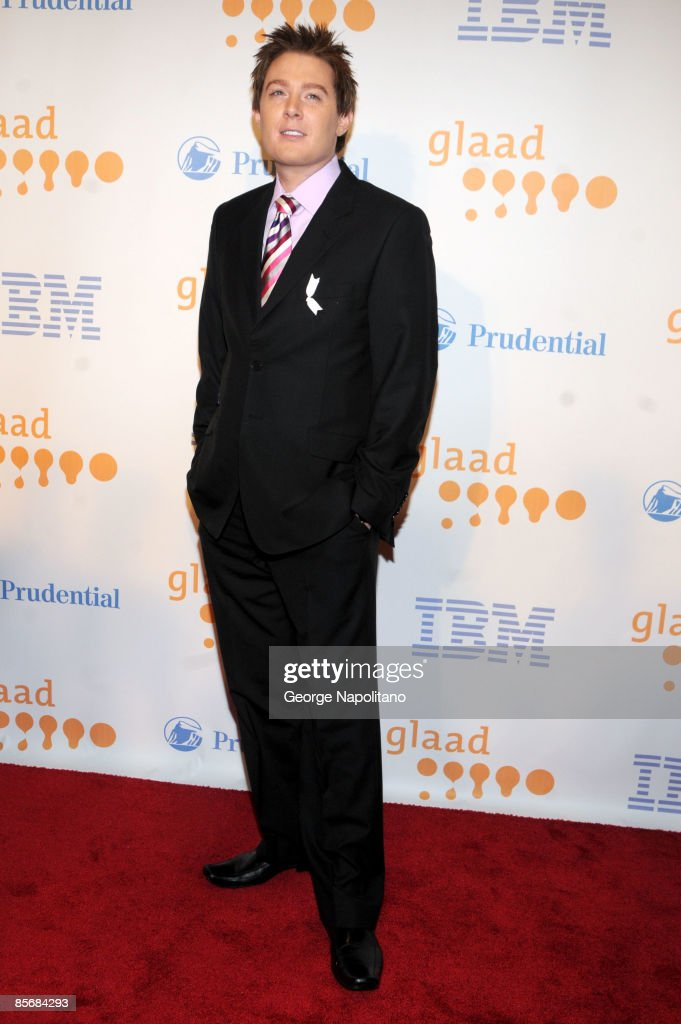 Actor and singer <a gi-track='captionPersonalityLinkClicked' href=/galleries/search?phrase=Clay+Aiken&family=editorial&specificpeople=204201 ng-click='$event.stopPropagation()'>Clay Aiken</a> arrives at the 20th Annual GLAAD Media Awards at the Marriott Marquis on March 28, 2009 in New York City.