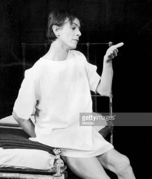 Actor and singer David Bowie seen in the role of John Merrick in 'The Elephant Man' on stage at the Booth Theatre Beoadway New York 18th September...
