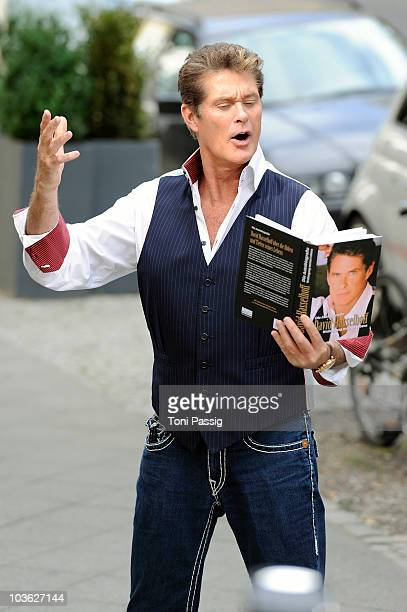 Actor and singer David Hasselhoff attends the photocall for the 'The Hoff Is Back' Tour 2011 at Hotel Lux on August 25 2010 in Berlin Germany