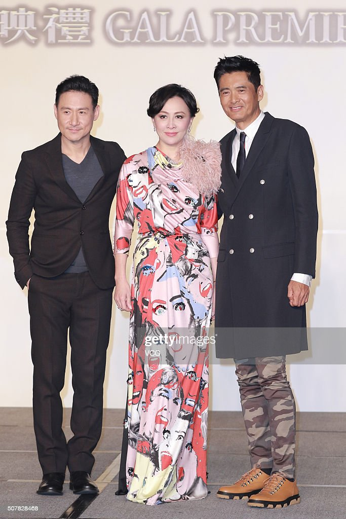 Actor and singer Jacky Cheung actress Carina Lau and actor Chow YunFat attend the gala premiere of director Andrew Lau and director Wong Jing's film...