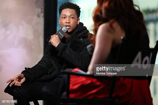 Actor and singer Jacob Latimore speaks with Alex Berg at Build Presents Jacob Latimore Discussing His New Film 'Collateral Beauty' at AOL HQ on...