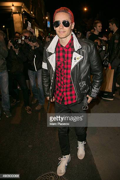 Actor and singer Jared Leto arrives to attend the Balmain aftershow party at 'Laperouse' restaurant on October 1 2015 in Paris France