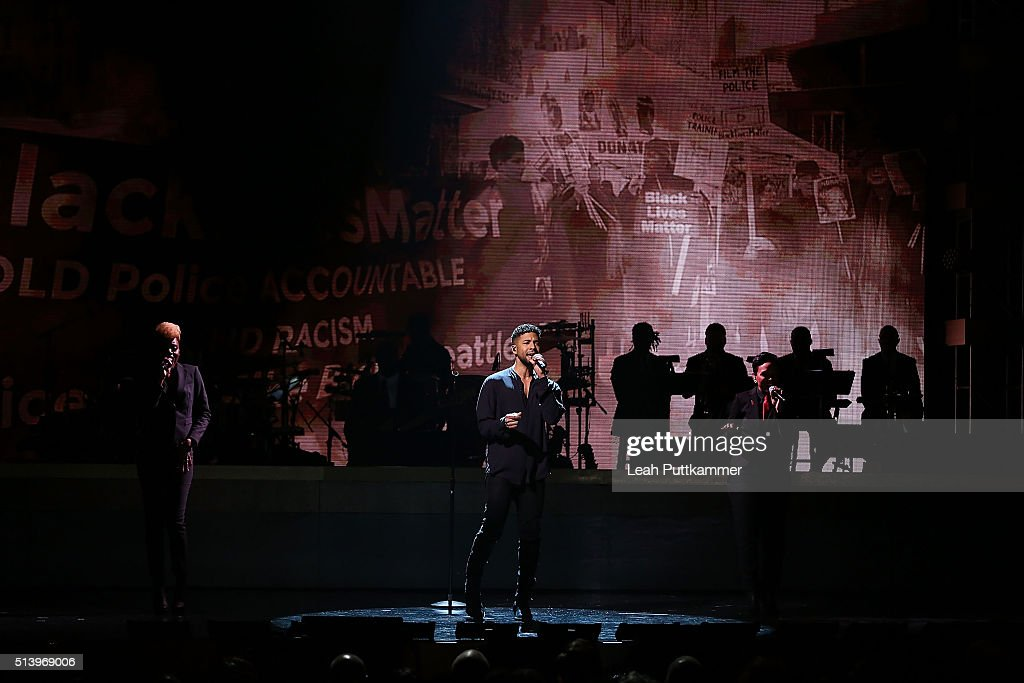 Actor and singer Jussie Smollett performs on stage during the BET Honors 2016 at Warner Theatre on March 5 2016 in Washington DC