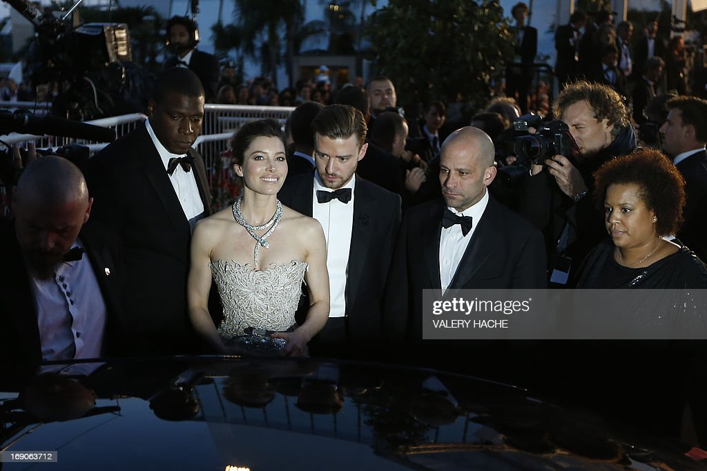 US actor and singer Justin Timberlake (C, R) and his wife actress Jessica Biel leave on May 19, 2013 after attending the screening of the film 'Inside Llewyn Davis' presented in Competition at the 66th edition of the Cannes Film Festival in Cannes. Cannes, one of the world's top film festivals, opened on May 15 and will climax on May 26 with awards selected by a jury headed this year by Hollywood legend Steven Spielberg.