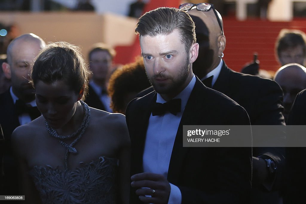 US actor and singer Justin Timberlake (R) and his wife actress Jessica Biel leave on May 19, 2013 after attending the screening of the film 'Inside Llewyn Davis' presented in Competition at the 66th edition of the Cannes Film Festival in Cannes. Cannes, one of the world's top film festivals, opened on May 15 and will climax on May 26 with awards selected by a jury headed this year by Hollywood legend Steven Spielberg.