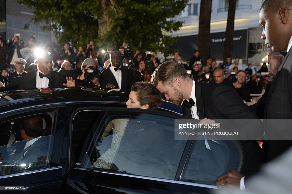 US actor and singer Justin Timberlake (C) and his wife actress Jessica Biel leave on May 19, 2013 after attending the screening of the film 'Inside Llewyn Davis' presented in Competition at the 66th edition of the Cannes Film Festival in Cannes. Cannes, one of the world's top film festivals, opened on May 15 and will climax on May 26 with awards selected by a jury headed this year by Hollywood legend Steven Spielberg.