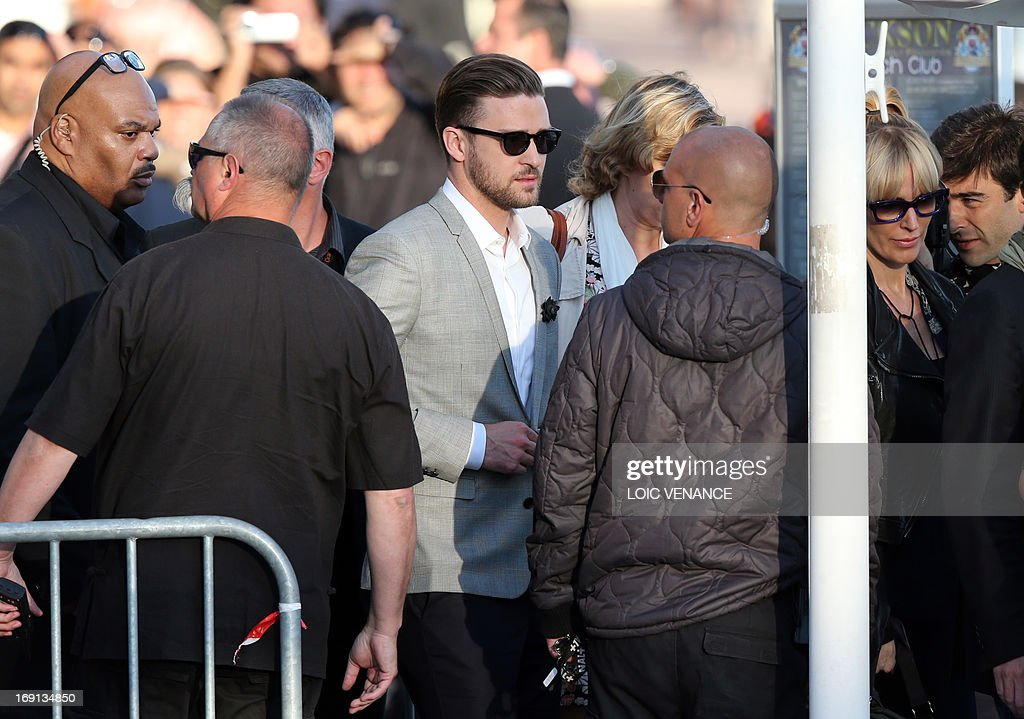 US actor and singer Justin Timberlake arrives on May 20, 2013 to take part in the show 'Le Grand Journal' on the set of the French TV Canal+, on the sidelines the 66th Cannes film festival in Cannes. Cannes, one of the world's top film festivals, opened on May 15 and will climax on May 26 with awards selected by a jury headed this year by Hollywood legend Steven Spielberg.