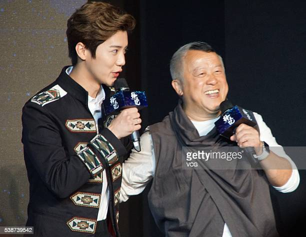Actor and singer Lu Han and Actor Tsang Chi Wai from Hong Kong attend the booting ceremony of Chinese TV series Fighter Of The Destiny at 22nd...