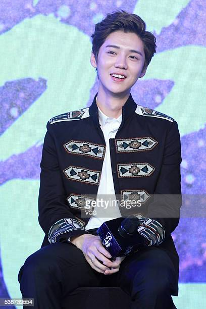 Actor and singer Lu Han attends the booting ceremony of Chinese TV series Fighter Of The Destiny at 22nd Shanghai TV Festival on June 7 2016 in...
