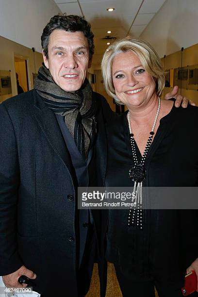 Actor and singer Marc Lavoine and Marina Carrere d'Encausse attend the 'Vivement Dimanche' French TV Show at Pavillon Gabriel on January 28 2015 in...