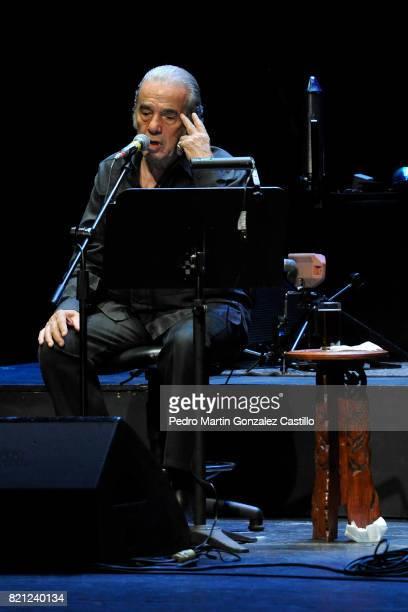 Actor and singer Oscar Chávez performs during his show at Teatro de la Ciudad Esperanza Iris on July 22 2017 in Mexico City Mexico