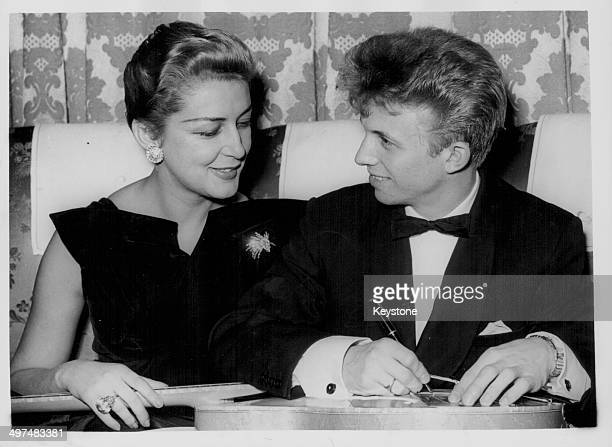 Actor and singer Tommy Steele and model Cynthia Oberholzer together at the Cafe de Paris London January 24th 1957